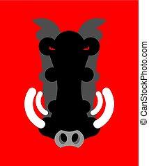 testa, isolated., arrabbiato, aper, muso, verro, selvatico, warthog