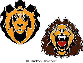 testa, leoni, cartone animato