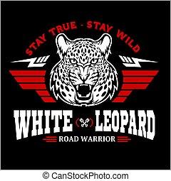 testa, leopardo, -, emblem., da corsa, ali