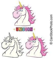 testa, magia, classico, set., carattere, collezione, unicorno, cartone animato