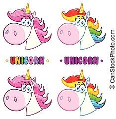 testa, magia, set., carattere, collezione, vettore, unicorno, cartone animato, mascotte