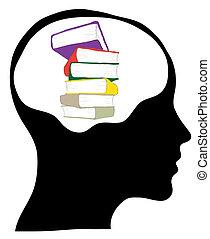 testa, maschio, silhouette, -, libri, educazione, pila