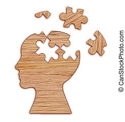 testa, mentale, puzzle., silhouette, simbolo., salute, umano