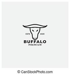 testa, minimalista, corno, logotipo, bufalo, lungo, disegno