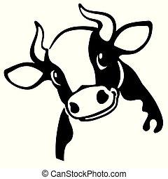 testa, mucca, cartone animato