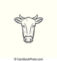 testa, mucca, schizzo, mano, disegnato, icon.