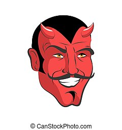 testa, mustache., mephistopheles, demone, satana, rosso, allegro, devil., smile., horns.