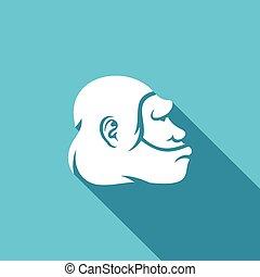 testa, neanderthal, illustrazione, vettore, icon., uomo