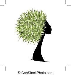 testa, organico, concetto, capelli, disegno, femmina, tuo, cura