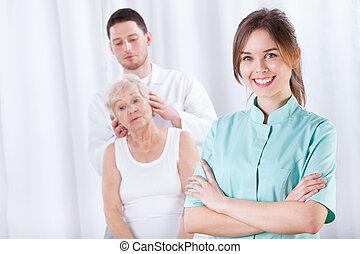testa, ospedale, massaggio