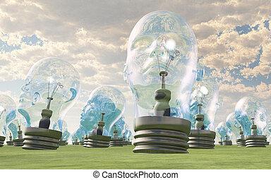 testa, paesaggio, gruppo, lightbulbs, umano