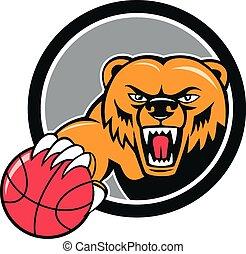 testa, pallacanestro, arrabbiato, orso, cartone animato, grigio
