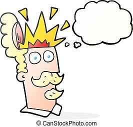 testa, pensiero, che esplode, bolla, cartone animato, uomo