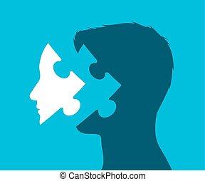 testa, pezzo, puzzle, illustrazione, mancante