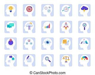 testa piana, set, successo, affari, cervello, processo, cervelli, soluzione, icons., pensare, idea, vettore, umano, uomo affari, psicologia, icona