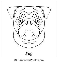 testa, pug, contorno, razza, cane, isolato, fondo., cane, nero, portrait., linea, spazzoni, bianco, cartone animato