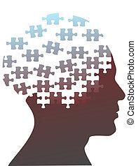 testa, puzzle, jigsaw, mente, pezzi, uomo