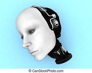 testa, robot, floor., femmina