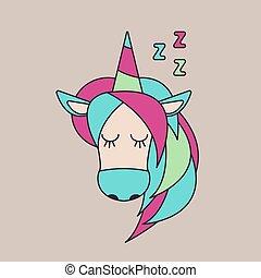 testa, russare, unicorno