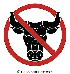 testa s, toro, nero rosso, distintivo, silhouette, bando, meat., ox., pericolo, vettore, segno., proibizione, aggressivo