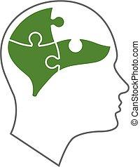 testa, salute, mentale, icona
