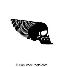 testa, scheletro, cranio, ali, emblem., ala