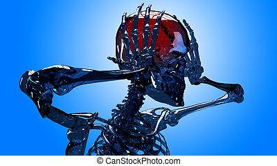 testa scheletro, dolore