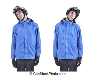 testa, sideways., muova, riscaldare, dimostrare, skiing., esercizio, skiier