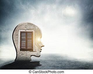 testa, silhouette, dentro, uno, finestra, umano