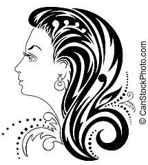 testa, silhouette, femmina