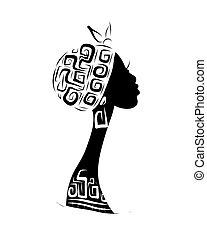 testa, silhouette, ornamento, disegno, femmina, etnico, tuo