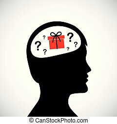 testa, silhouette, regalo, circa, idea, pensare, uomo