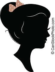 testa, silhouette, vendemmia, isolato, bianco, ragazza