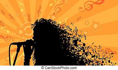 testa, silhouette, womans, illustrazione, capelli, fondo.,...