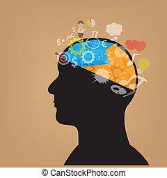 testa, simbolo, creativo