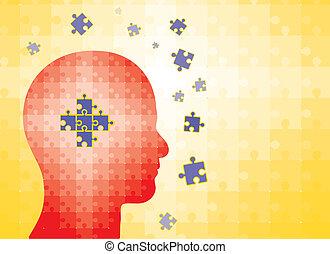 testa, -, soluzione, enigmi, umano, risultato, uomo