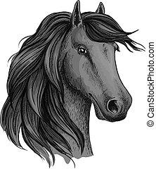 testa, stallone, sketched, mustang, o, cavallo