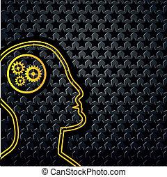 testa, stella, astratto, sfondo giallo, tecnologia