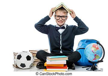 testa, suo, contro, allegro, libro, proposta, fondo, studio, bianco, scolaro