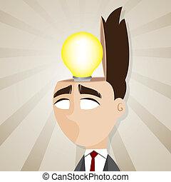 testa, suo, idea, bulbo, uomo affari, cartone animato