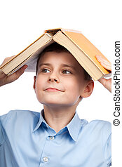 testa, suo, libro, scolaro