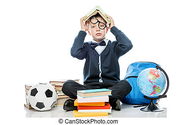 testa, suo, stanco, contro, libro, proposta, fondo, studio, bianco, scolaro