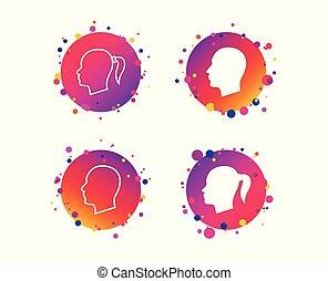 testa, symbols., femmina, icons., vettore, umano, maschio