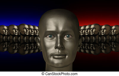testa, teste, flanked, due, gruppi, argento