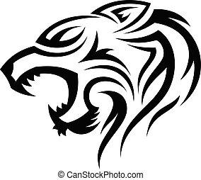 testa, tiger, silhouette, tribale, vettore, illustrazione, creativo