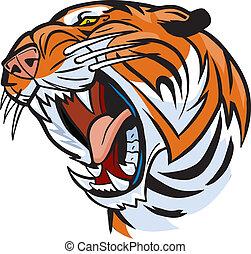 testa tigre, ruggire, cartone animato, vettore