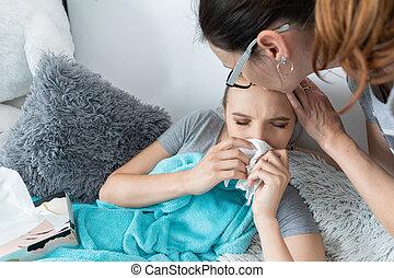 testa, toques, alto, persists., mão, mãe, filha, se, ainda, ...