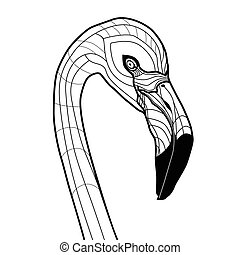 testa uccello, fenicottero, tatuaggio, vettore, illustrazione, isolato, bianco, fondo, schizzo, disegno, per, t-shirts