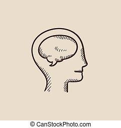 testa umana, con, cervello, schizzo, icon.