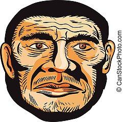 testa, uomo, acquaforte, neanderthal